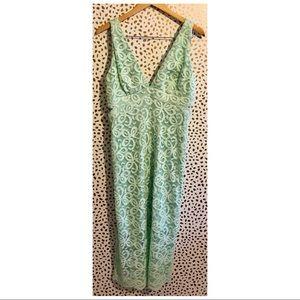 Gianni Bini Mint Lace Low Cut Midi Dress.